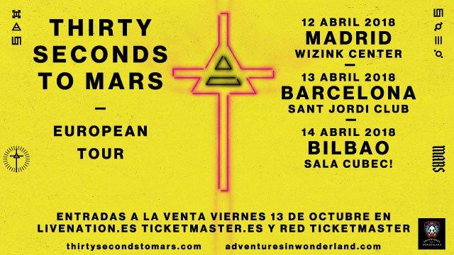 30 seconds to mars barcelona madrid bilbao 2018