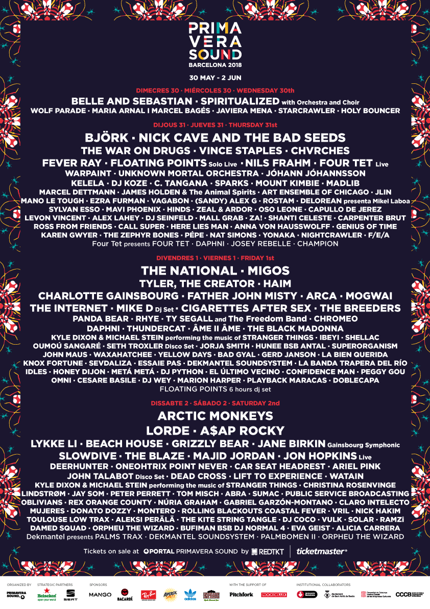 primavera sound 2018 cartel artistas