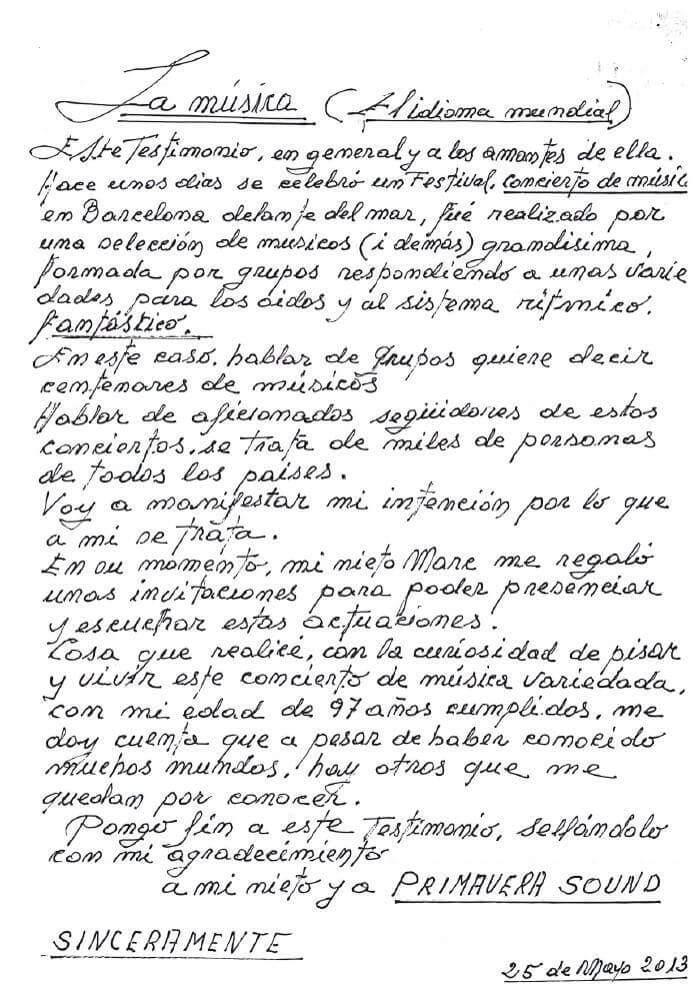 Carta Primavera Sound
