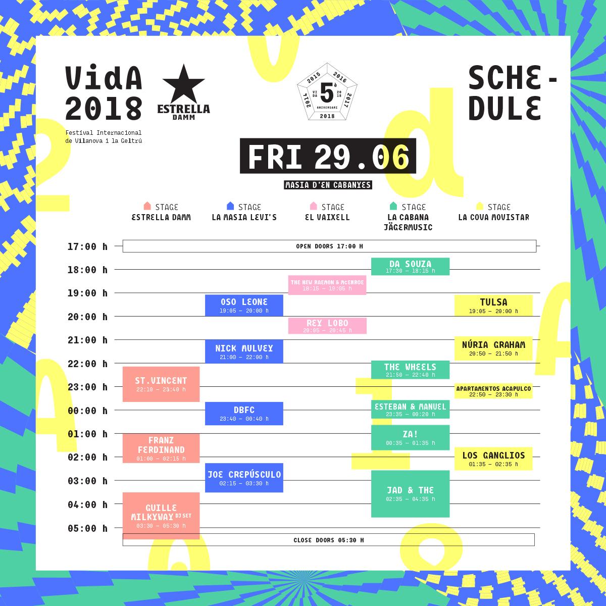 horarios vida festival 2018 viernes