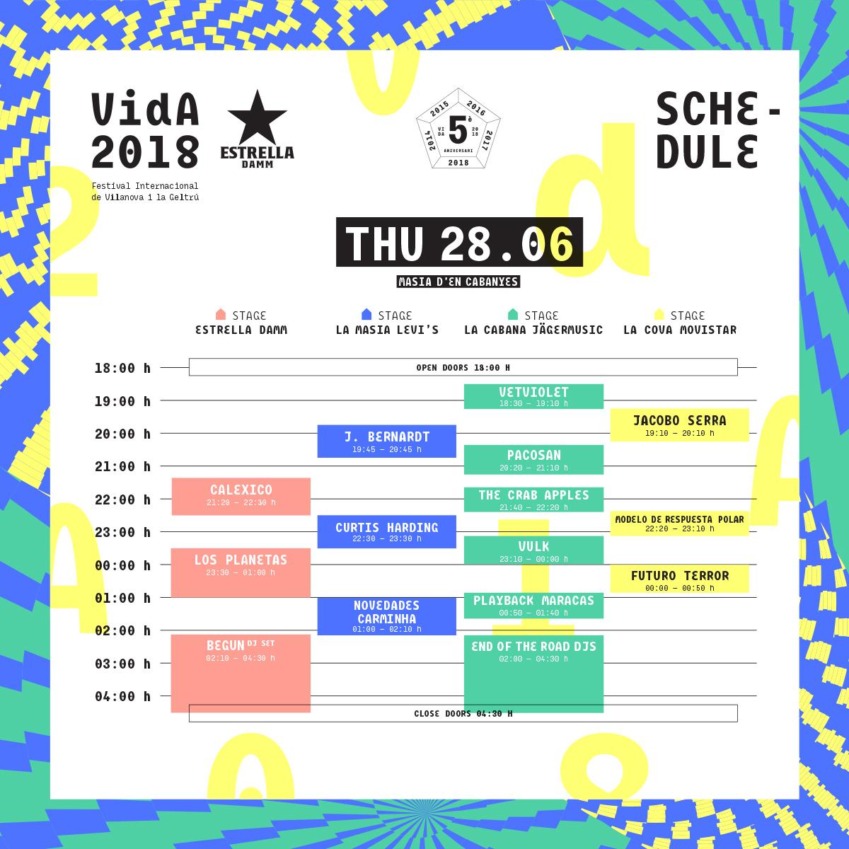 horarios vida festival 2018 jueves